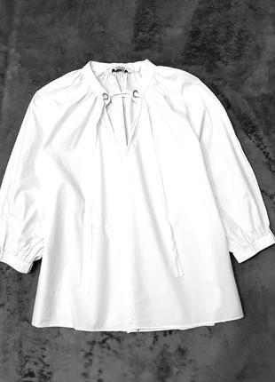 &other stories белая блуза блузка сорочка рубашка 36 рукава буфы