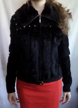 Курточка замшевая с мехом, демисезонная