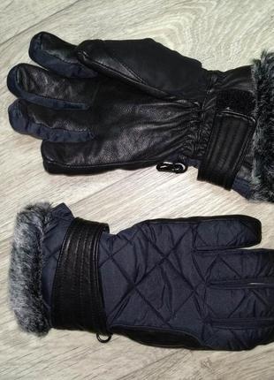 Перчатки лыжные женские xs-s краги thinsulate кожа