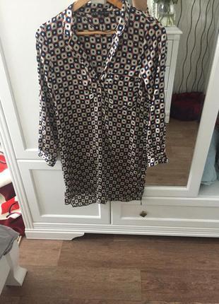 Платье рубашка zara шелковое