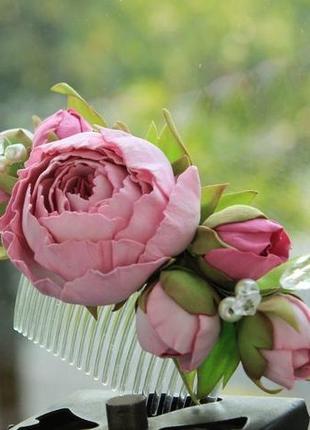 Гребінець з квітами ободок с цветами квіти в зачіску квіти для волосся