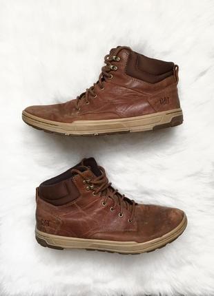 Демисезонные коричневые кожаные ботинки caterpillar сапоги натуральная кожа