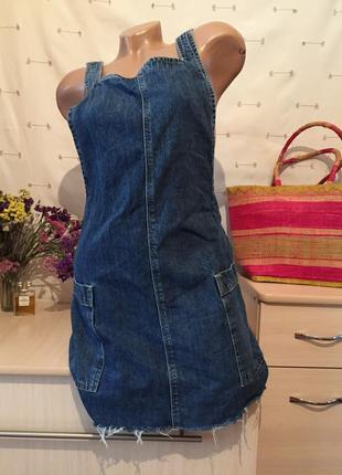 Стильный джинсовый сарафан / платье джинсовое