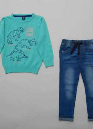 Костюм джемпер с динозаврами kiki&koko и джинсы pepco