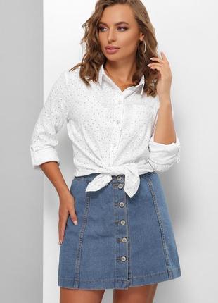 Женская белая льняная рубашка с мелким принтом (1868 mrss)