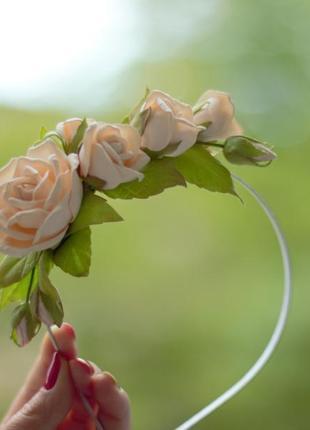 Обруч з квітами ободок с цветами венок