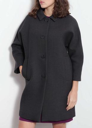 Пальто темно-синее базовое шерсть 100/: