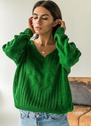 Пуловер вязаный оверсайз
