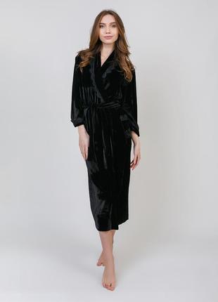 Халат serenade 9001 длинный черный бархатный женский халат с кружевом