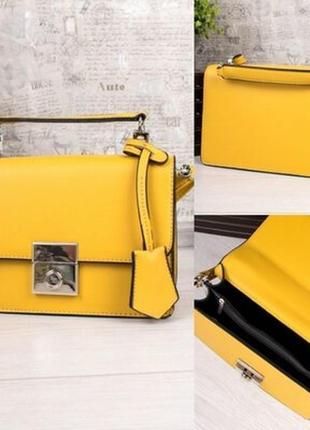 Стильная сумка кроссбоди еко кожа жёлтая