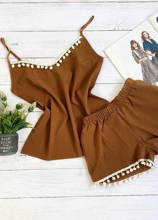 Пижама шорты и майка s-m коричневый