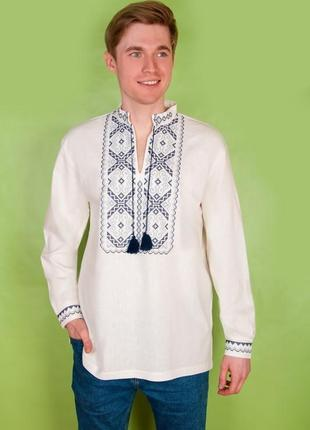 Вышиванка мужская из льна с длинным рукавом