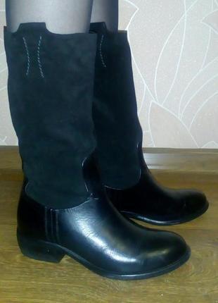 Высокие кожаные сапоги, широкая голень, ботфорты, тонкий утеплитель, сапожки еврозима