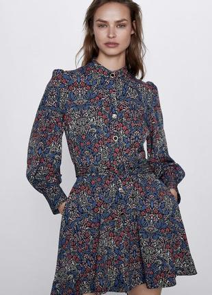 Zara мини платье с принтом,  m