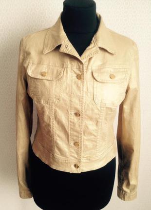 Мегакрутая курточка жакетик золотистого цвета известного дорогого бренда roccobarocco