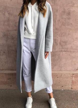 Пальто длинное серое