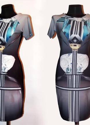 Дешево. классное платье, 3d принт. турция. новое. р. s 42-44