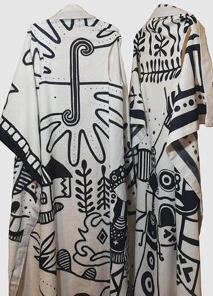 Этническая дизайнерская льняная накидка