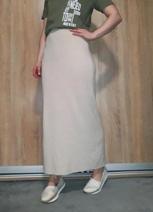 Мягкая вязанная юбка макси миди кашемир на высокой посадке united colors of beneton