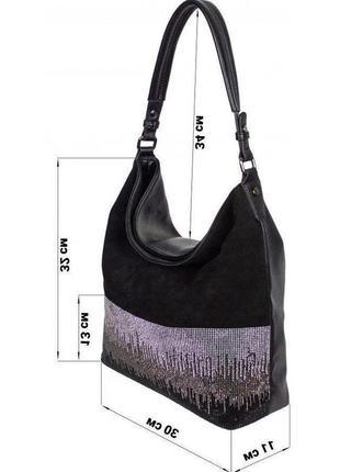 Замшевая сумка в стразы женская. черная сумочка комбинация натурального замша 80-085