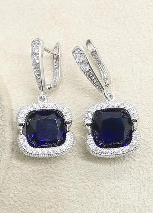 Крутые серьги серебро с красивым логдон блу топаз насыщенно синий