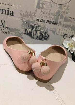Балетки с бубонами розовые,пудра,балетки из экокожи,нежные балетки,обувь, р-ры:38-41