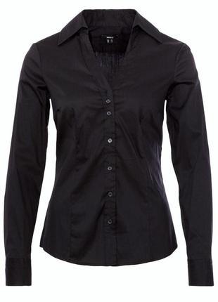 Рубашка блузка mexx черная чорна сорочка чёрная с длинным рукавом приталенная