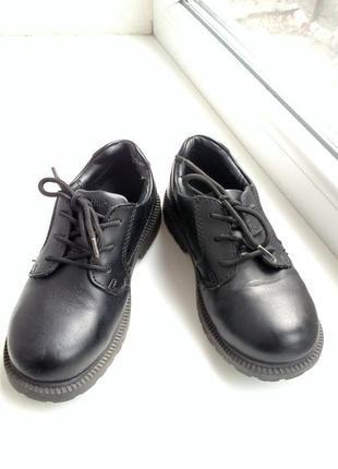 Модные туфли для мальчика на шнурках, натуральная кожа.