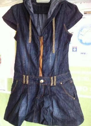 Платье, сарафан джинсовый с капюшоном