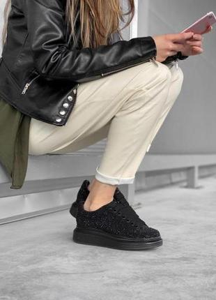 Женские замшевые кроссовки alexander mcqueen black черного цвета 😻