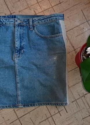 Юбка джинсовая с лампасами и напылением 50размер