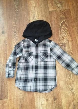 Фирменная рубашка  h&m на парня 2-3 годика