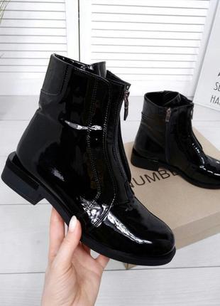 Рр 36-40 весна(зима) натуральная кожа стильные ботинки с интересным каблуком