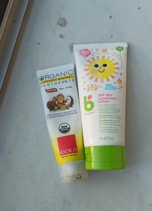 Сонцезахисний крем і зубна паста( iherb) для новорожденных