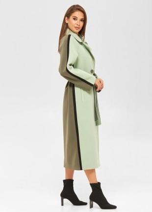 Пальто женское комбинированное демисезон шерстяное салатовый цвет