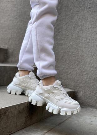 Женские кроссовки prada white белого цвета 😻