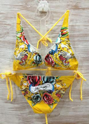 Купальник ed hardy womens swimsuit bikini rose tiger/ оригинал usa