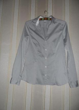 Рубашка приталенная длинный рукав размер 40 // l