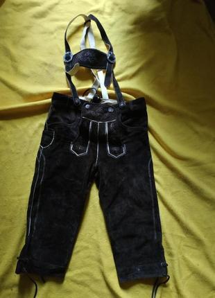 Баварские тирольские шорты на подтяжках из натуральной замши октоберфест