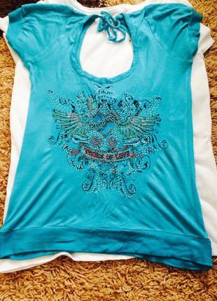 Интересная футболка zarga - с открытой спиной , бирюзового цвета!)