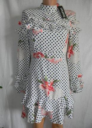 Новое платье в горошек с оборками и цветочным принтом