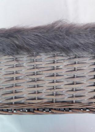 Плетенный органайзер,  корзина с искусственным мехом