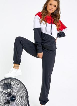 1701.    черный спортивный костюм с цветными вставками