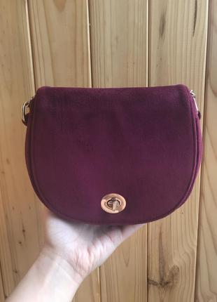 Бордовая велюровая сумка через плечо / клатч / кросбоди
