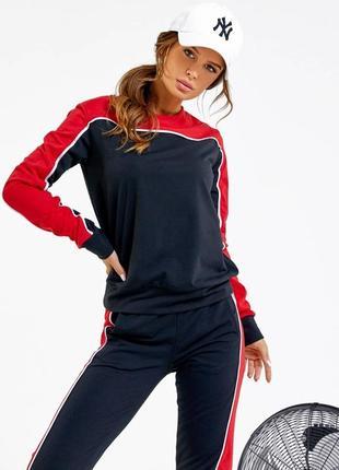 1702.    черно-красный спортивный костюм с манжетами