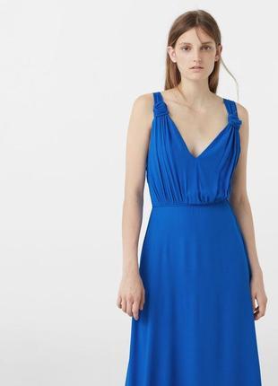 Вечернее платье макси в пол от mango премиум коллекция индиго выпускное платье сукня довга