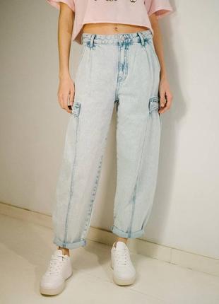 Джинсы джинси на высокой талии слоучи баллоны качественные новые bershka
