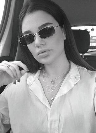 Прямоугольные маленькие квадратные очки черные с серебряной оправой прямокутні окуляри