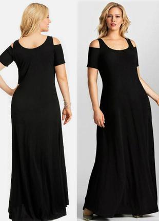 Брендовое платье в пол батал 3х с вырезами на рукавах на 62-64 рр