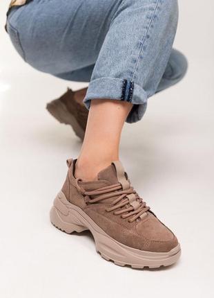 Кроссовки женские замшевые латте песочные бежевые с вставками кожи на шнурках